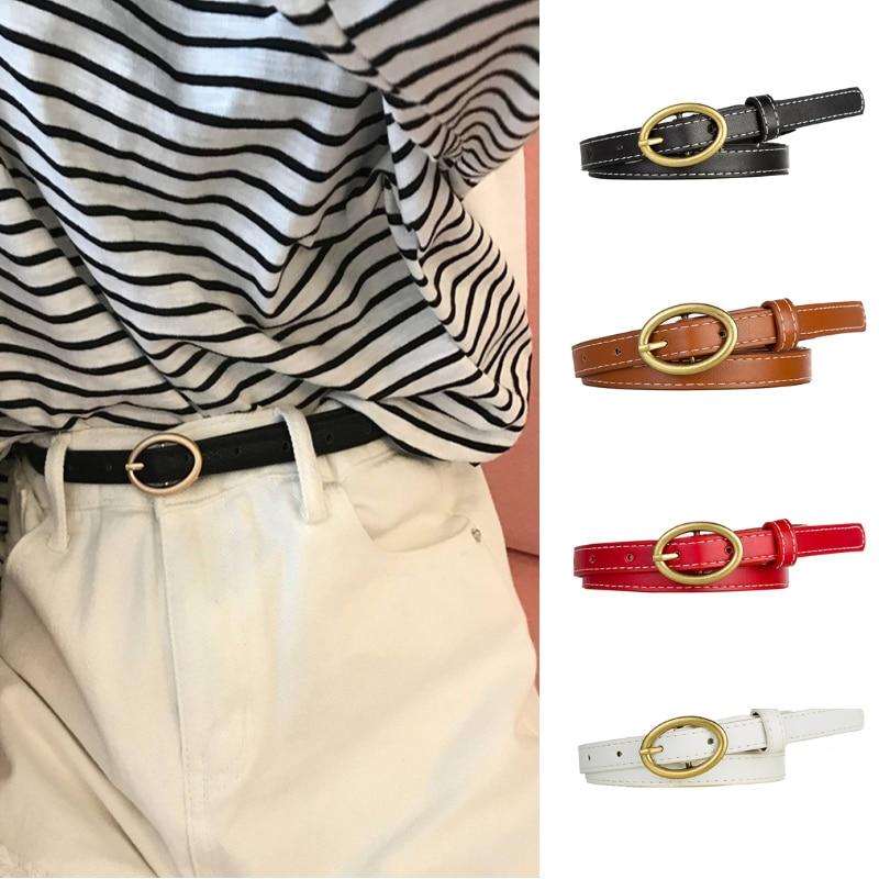 1 Pcs Women PU Leather   Belt   Brass Color Oval Pin Buckle   Belt   Female Casual Jeans Dress   Belt   108cm Decorative   Belt   For Women