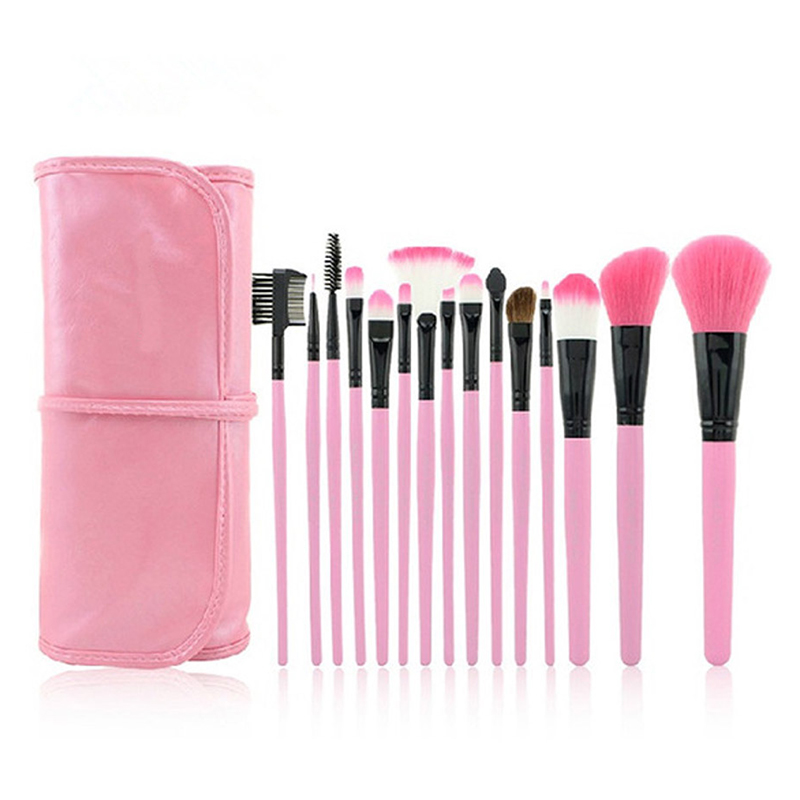 15pcs Pink Makeup Brushes with Roll Bag Case Foundation Powder Eyebrow Lipstick Brushes pincel para maquiagem Beauty Brushes Kit
