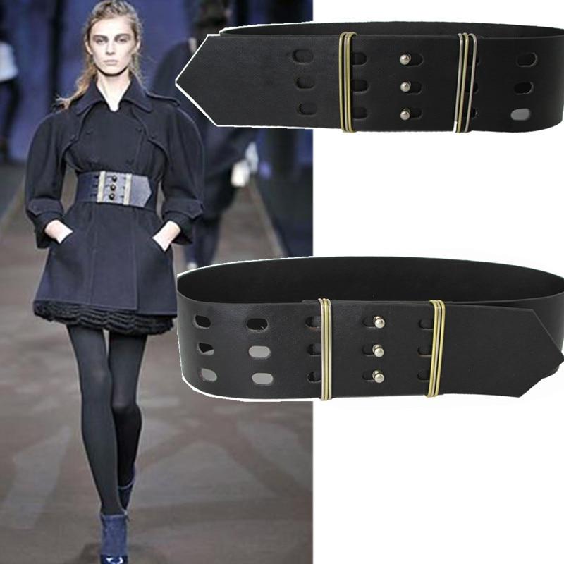 Kadınlar için 2018 yeni kadın geniş kuşak dekorasyon Yüksek kaliteli deri kemerler ceket elbise aksesuarları vahşi kemer marka tasarımcısı