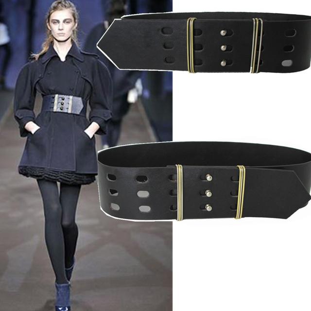 Europa moda runway feminino cinto largo decoração para mulheres cintos de couro acessórios vestido do revestimento do selvagem cintura marca designer
