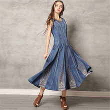 Denim Dress 2019 New Spring Summer American Russian Hot Sale Vintage Embroidery Blue 3XL Plus Size  Sleeveless Jeans CX839