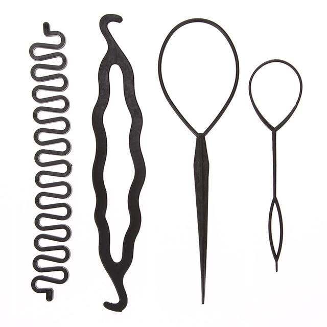 4 סט אביזרי עיצוב שיער קסם 3 סוגים יח'\סט קליעת טוויסט קולעת פין Bun שיער להכנת רולר שיער Curler סטיילינג כלי