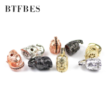 BTFBES 4pcs helmet head Bracelet Spacer Copper Beads Black Zircon Charms metal Spartan Loose beads Jewelry bracelets makin DIY