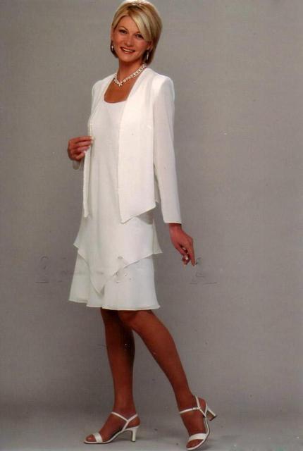Nueva Llegada de la Madre de la Novia del novio de La Novia Vestido Formal vestido de la Noche blanca Longitud de La Rodilla Madre de La Novia Largo manga
