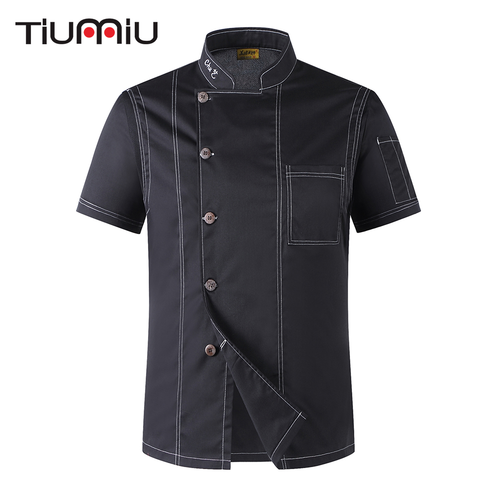 2018 Unisex Cook Clothes Men Single Breasted High Quality Kitchen Cook Uniform Short-sleeved Restaurant Bakery Waiter Tops Shirt
