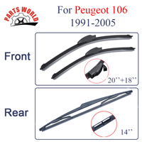 Combo Silicone Rubber Front And Rear Wiper Blades For Peugeot 106 1991 2005 Windscreen Wipers Car