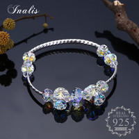 INALIS 925 Sterling Silver Clear Crystal Bracelets Bangles Luxury Fine Jewelry For Women Authentic Original Gift
