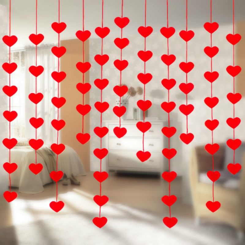 16 Hearts Romantic Wedding Decoration Marriage Room Layout DIY Non-woven Garland Creative Love Heart Curtain Wedding Supplies 6Z