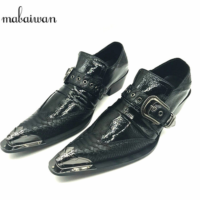 Mabaiwan Noir Creepers Chaussure Homme Boucle En Cuir Chaussures Fer Bout  Pointu De Mariage Robe Richelieus