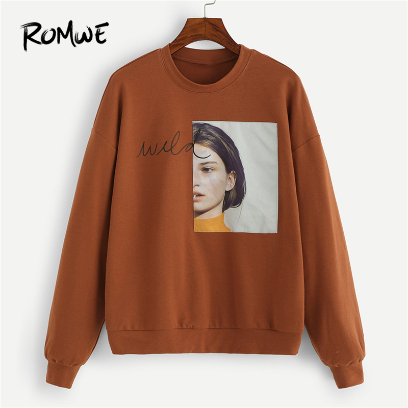 ROMWE Brown Figure Patched Letter Pullover Sweatshirt Women Clothes 2019 Autumn Womens Fashion Clothing Female Casual Pullovers