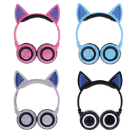 Foldable Cat Ear Sport Wireless Bluetooth Headphones With Microphone Led Luminous Gaming Headset For Computeror