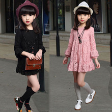 New 2016 Autumn Girls Dress Kids Lace Dress Children Basic Dress Toddler Fashion Dress Cotton Liner not contain necklace ,3-14Y