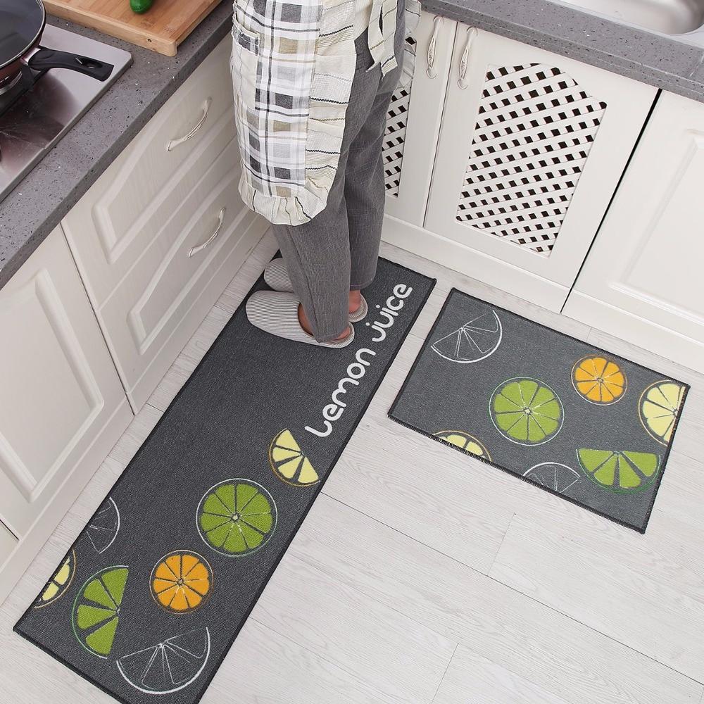2Pcs Set Kitchen Bath Mats Carpet 15 Colors Anti Slip Large Bathroom Rug Modern Style Bathroom