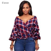 2017 Fashion Red Checkered Shirt Women Tops Long Sleeve V Neck Bandage Top Plaid Shirt Sexy Tartan Shirt Autumn Ladies Blouses