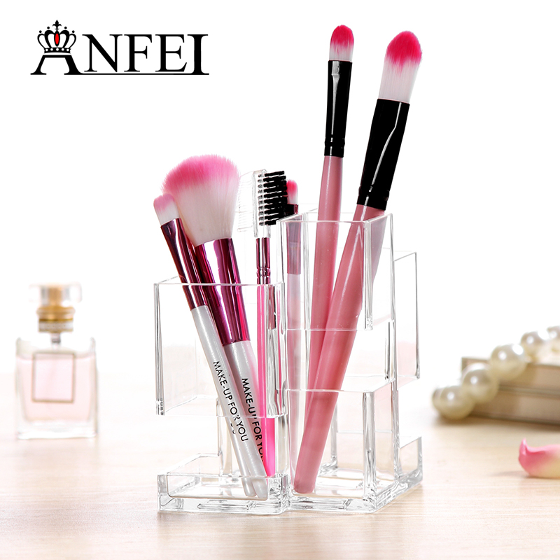 portable acrylic clear 3 cylindrical makeup brush holder transparent cosmetic make up brush cup. Black Bedroom Furniture Sets. Home Design Ideas