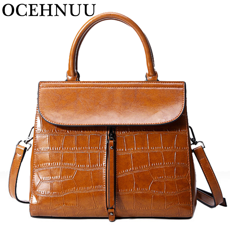 OCEHNUU New Genuine Leather Bags For Women 2018 Vintage Solid Women's Crossbody Handbag Shoulder Bag Female Zipper Famous Brand цена