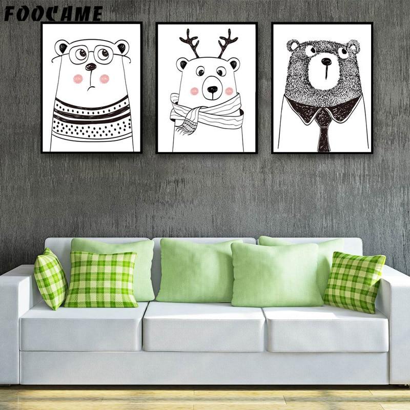 FOOCAME Cartoon Animal Bear Gewei Posters en prints Art Canvas - Huisdecoratie - Foto 2