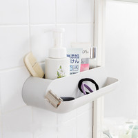 1pcs Bathroom Storage Rack No Trace Adhesive Punch Free Home Two Grid Drainable Storage Rack Wall Mount Plastic Shower Organizer