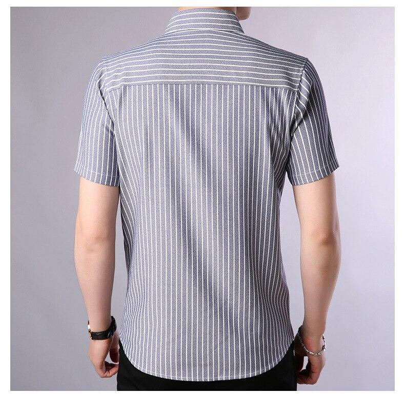 Mwxsd brand summer men striped shirts short sleeve cotton mens slim fit work form shirt camisa social masculina chemise homme