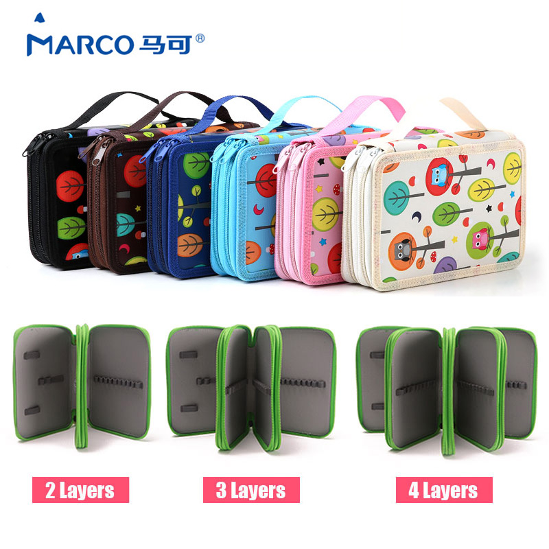 72 Holder Cute Pencil Case Kids 2/3/4 Layers School Pencils Case Large Capacity Pencil Bag For Colored Pencils Bag Art Supplise 2 3 4 layers high quality large capacity canvas pencil case drawing pens pencil bag portable pencil box school penalties 04856