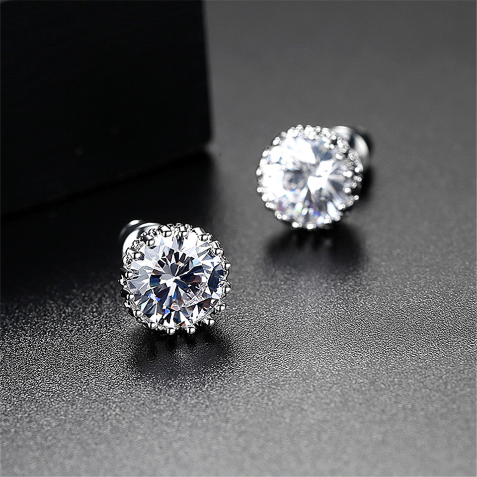 2018 Hot Sale Romantic Jewelry Stud Earrings For Wedding Elegant Silver Color AAA Cubic 9MM Zirconia Stone Earring of gifts girl