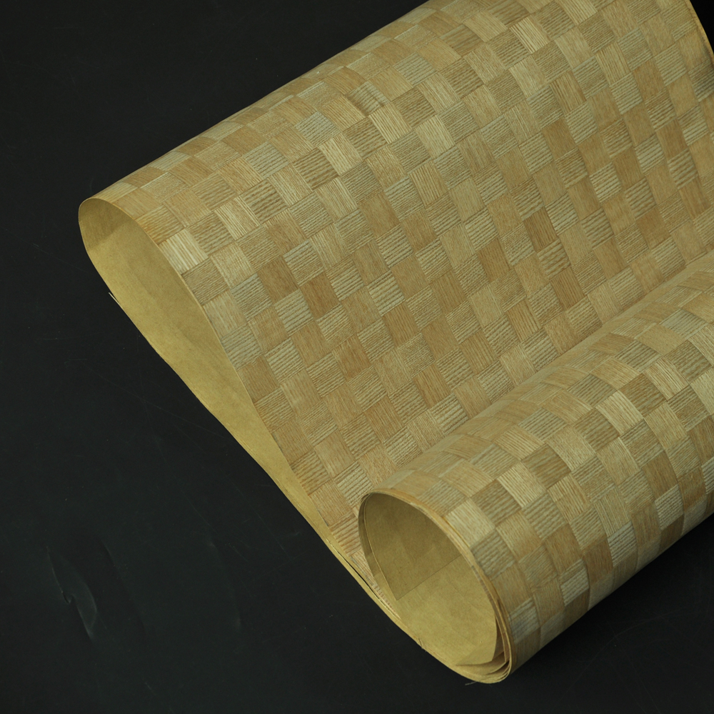 Natural Parquet Wood Veneer Russian Oak Veneer With Fleece Backer