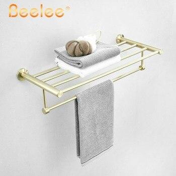 Bathroom Towel Rack Golden Brush Towel Holder Storage Towel Rack Shelf Wall Mounted Brushed SUS304 Stainless Steel,BA17803GB