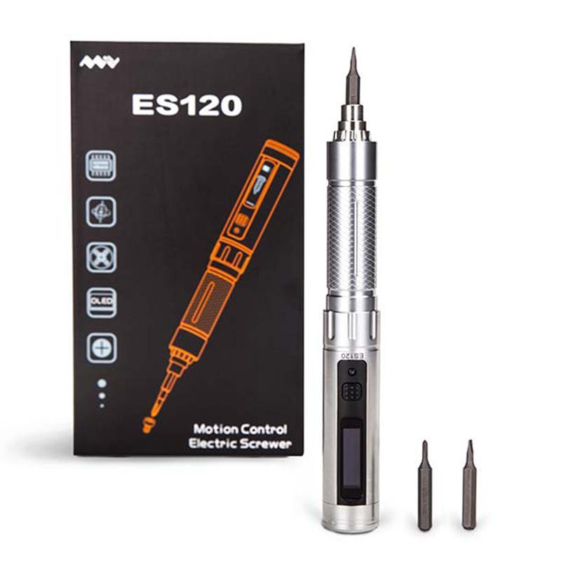 ES120 Mini di Precisione Cordless Cacciavite Elettrico In Acciaio Inox Portatile Intelligente di Controllo del Movimento di Alimentazione Screwriver Con Bit Set