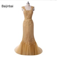 High Quality Scalloped Sleeveless Golden Embroidery Beaded Evening Dress Gown Robe De Soiree 2016 Vestidos Custom
