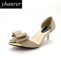חדש הנשים bow-knot רדוד נעלי עקב עקבים גבוהים נצנצים אופנה עקבים חתלתול הבוהן מחודדת משאבות נעלי מסיבת החתונה K406