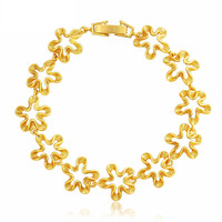 ew Retro Flower Chain Bracelet  Yellow Gold Filled Bridal Married Jewelry Sent Friend,Mother