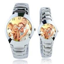 03778b05a الفضة ساعة نسائية ساعة مخصصة الشعار صور طباعة الساعات ووتش الوجه الطباعة  ساعة اليد مخصصة فريد DIY هدية لعشاق