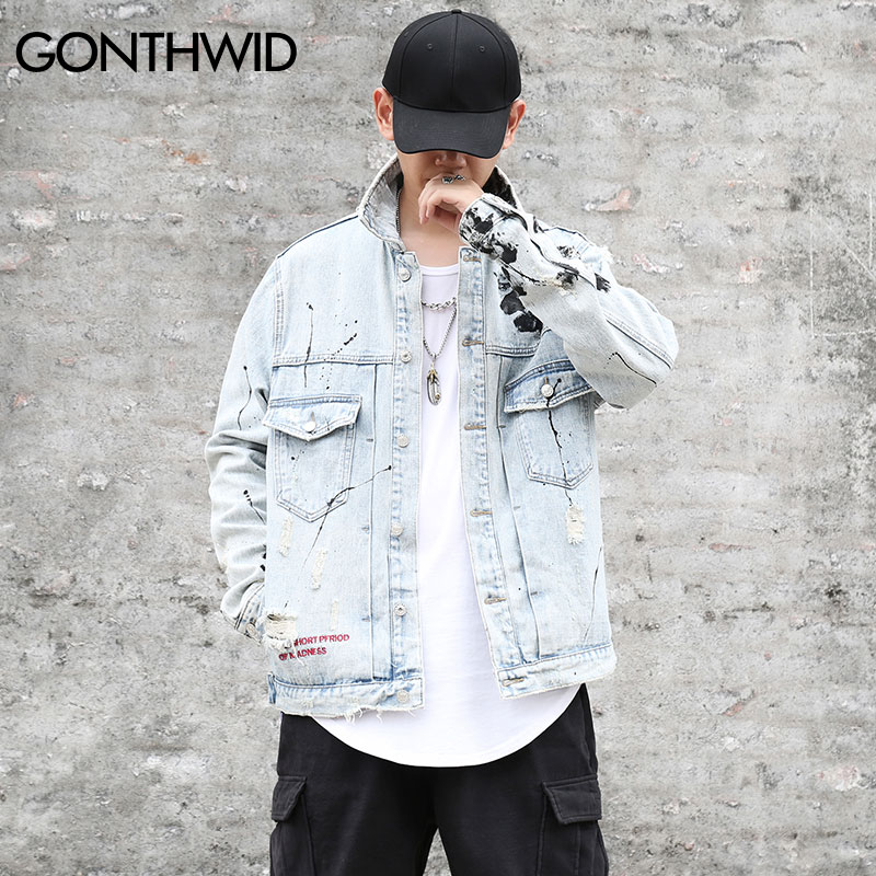 6cb57d902cd GONTHWID Mens Graffiti Denim Jackets Streetwear 2018 Hip Hop Casual  Patchwork Ripped Distressed Punk Rock Jeans Coats Outwear-in Jackets from  Men's Clothing