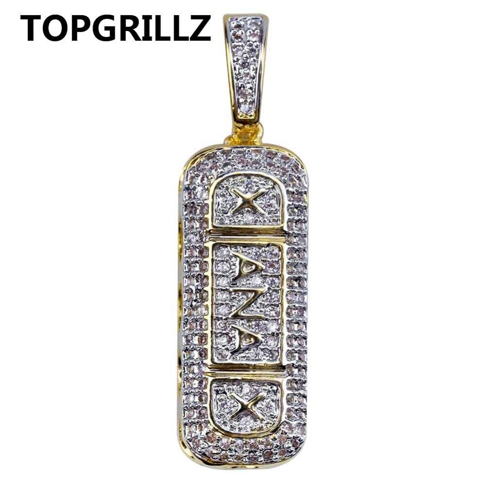 TOPGRILLZ Hip Hop Gold Farbe Überzogen Iced Out Micro Gepflasterte CZ Stein Xanax Pille Halskette & Anhänger Charme Für Männer frauen Gidts
