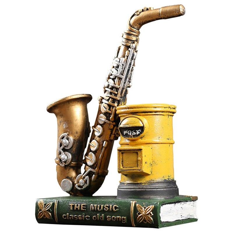 American Retro Saxophone Pen Holder Resin Fashion Study Office Personality Pen Insert Birthday Gift