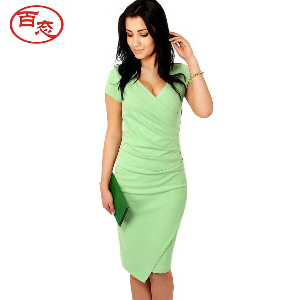 BAITAI Women Pencil Dress Female Short Sleeve Candy Color Solid Slim Bodycon Work Office Lady Dresses