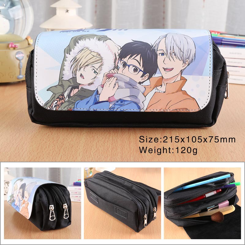 YURI!!! on ICE Anime Pencil Bag Pu Leather Double Zipper Flip Cover Pencil Case Pen Bags School Supplies Creative Children Gift