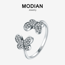 Modian Exquisite Dazzling Crystal Ring 100% 925 Sterling Silver Vintage Butterfly Adjustable Trendy Rings For Women Fine Jewelry