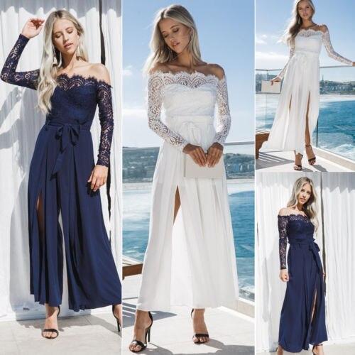 Новое сексуальное длинное вечернее сексуальное платье формальное бальное платье белое платье Свободный сарафан US Stoc