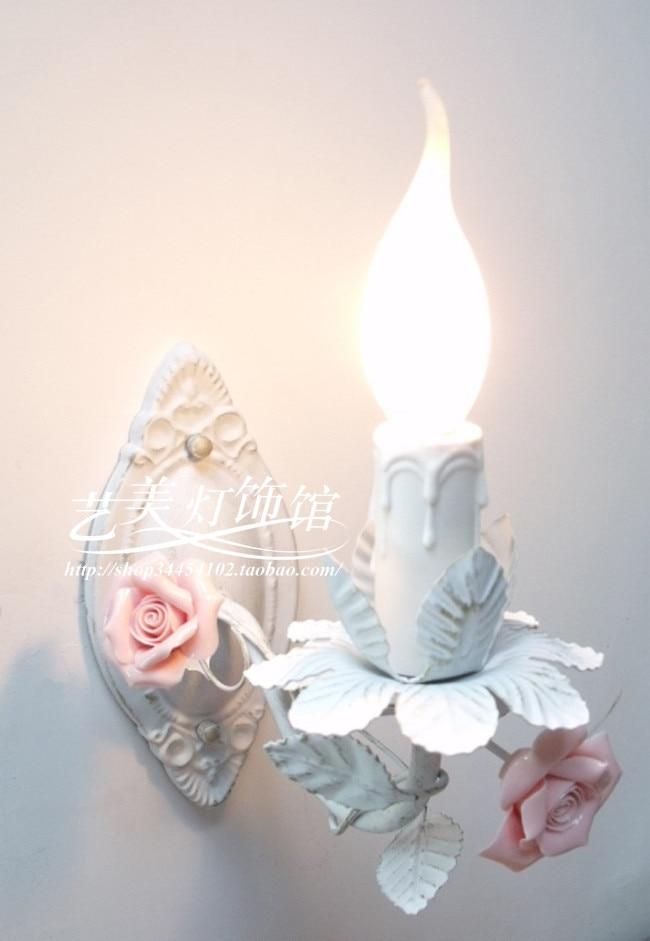 Modern  Hot Sell Candle Rustic Lamp Princess ceramic Rose Flowers  Wall LampModern  Hot Sell Candle Rustic Lamp Princess ceramic Rose Flowers  Wall Lamp