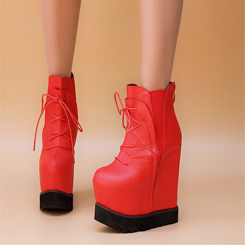 Women Ankle Boots Platform 15cm High Heels Wedges Flat Black Red Punk Boots Fashion Shoes Fenty Beauty Boots Sexy Ladies Shoes catching low price 2017 new sexy women fashion buckle ladies shoes vogue wedges red apricot black high heels platform pumps