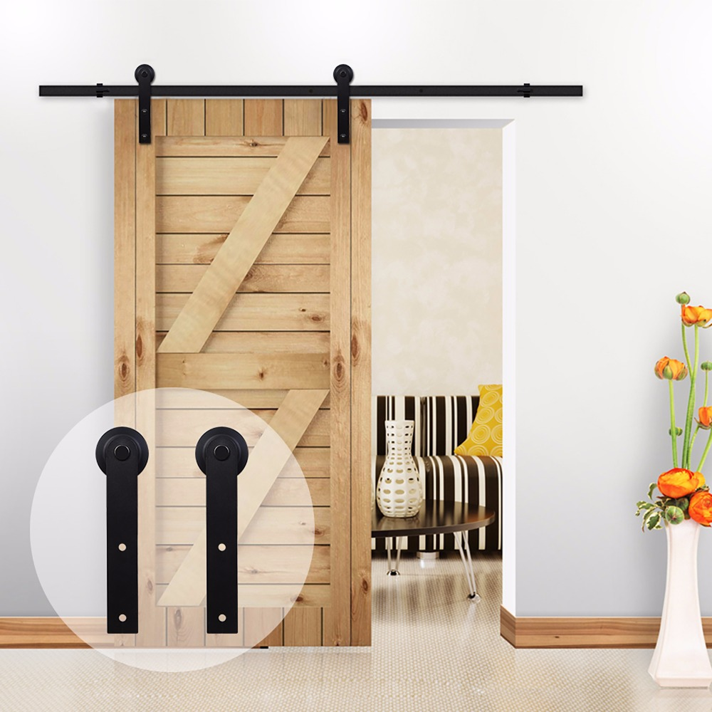 LWZH American Style 11FT/12.6FT Sliding Wood Barn Door Carton Steel Hardware Kit Black I Shaped Hangers Rollers For Single Door