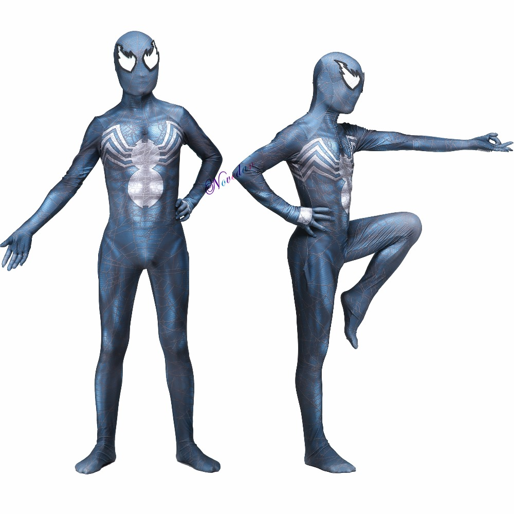 New 2019 Venom Symbiote Spiderman Costume Movie Venom Cosplay Marvel Black Zentai Suit Halloween Costumes For Men Adult Kids