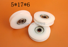 цена на 30pcs/lot 5*17*6 Furniture hardware accessories bearing door pulley bearing plastic covered mute bearing U slot embedded bearing