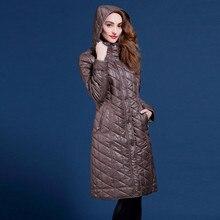 Мода плюс размер мм тонкий длинный дизайн хлопка-ватник с капюшоном на молнии тонкий более-колено ватные куртки VQ513