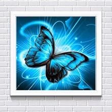 Diy Diamond Handmade Home Decor New Full Painting Blue Butterfly Pattern 5D DIY Mosaic Cross Stitch Mural F212