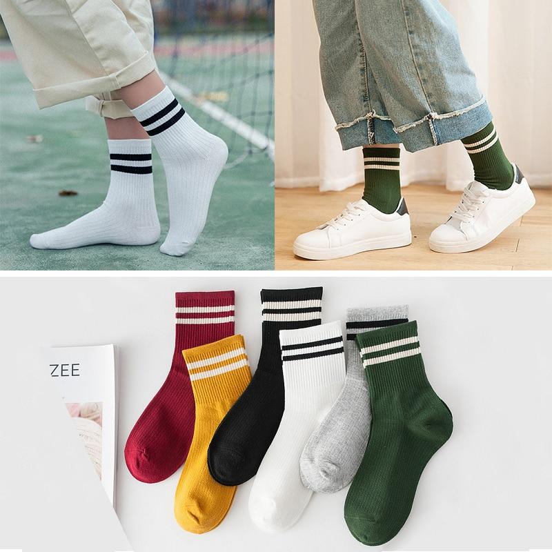 Korean Style Fashion Harajuku Street Socks Women Cotton White Socks Colorful Striped Skateboard Sporty Socks Long Socks For Girl