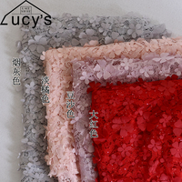 8 Colors In Stock Middle Stretch Lace Fabric 3d Petals Flowers Lace Material 1 Yard For