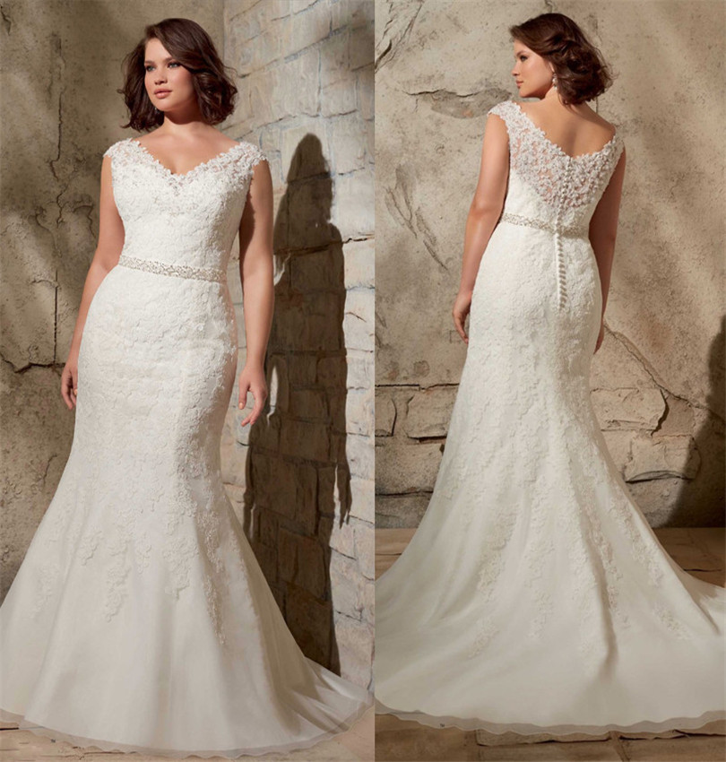 High Quality Lace Applique Wedding Gowns V Neckline Beaded
