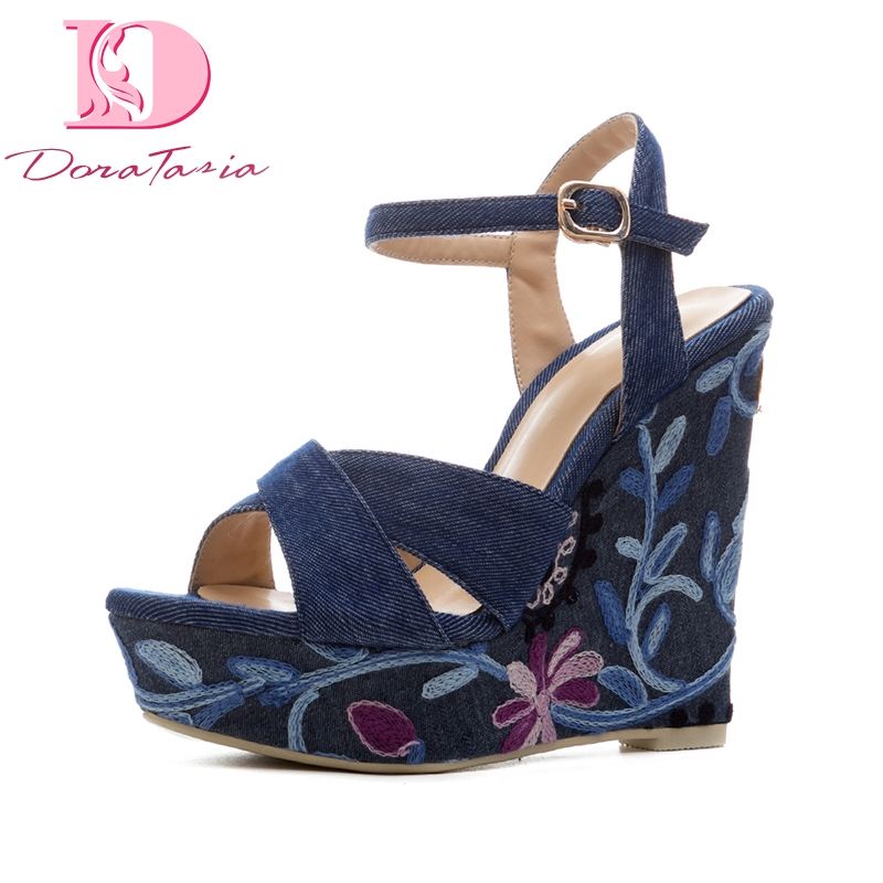 DoraTasia Top Quality Denim Upper Embroidery Dropship Platform Blue Summer Shoes Sandals Women Fashion Ankle Strap